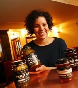 Top Shelf Preserves founder Sara Pishva with Pickled Garlic Scapes